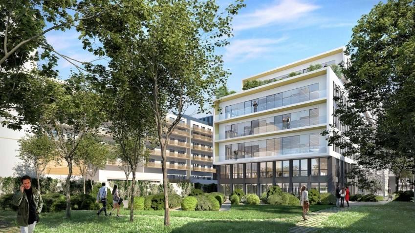 Le projet tertiaire au 52 Aristide Briand à Bagneux, depuis la vue jardin. © Ory