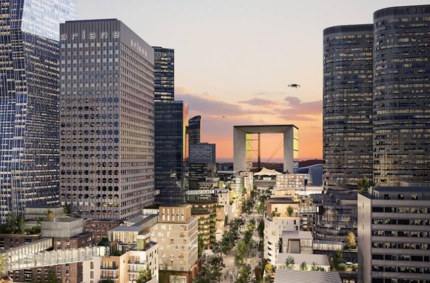 Un visuel d'architectes pour La Défense repensée, avec des immeubles résidentiels d'une dizaine d'étages implantés sur la dalle, dont la largeur est réduite. © 2Portzamparc