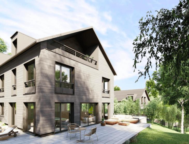 Les Villas de l'Étang, promotion de maisons individuelles en bois soutenue par Baltis Capital.