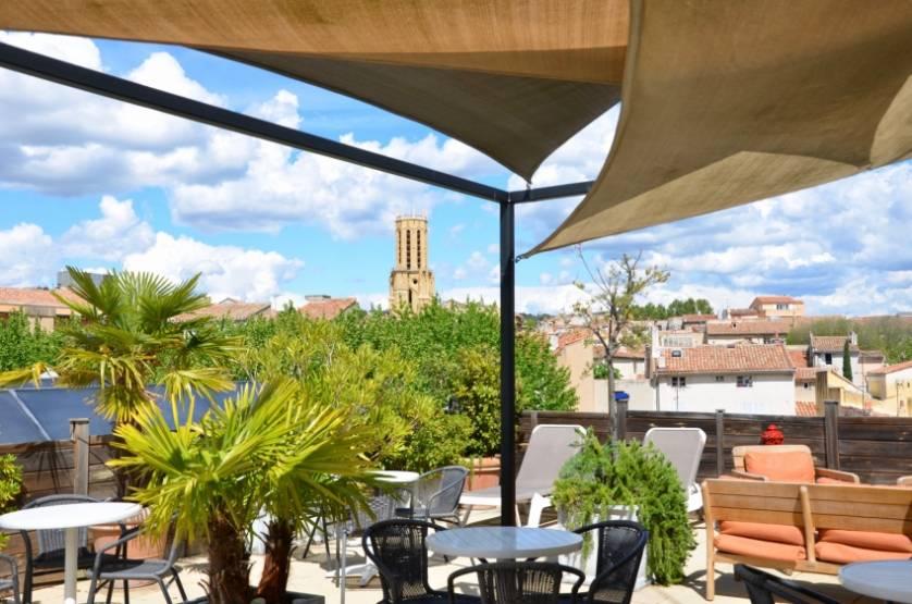Le toit-terrasse de l'hôtel du Globe, à Aix-en-Provence. © Hôtel du Globe