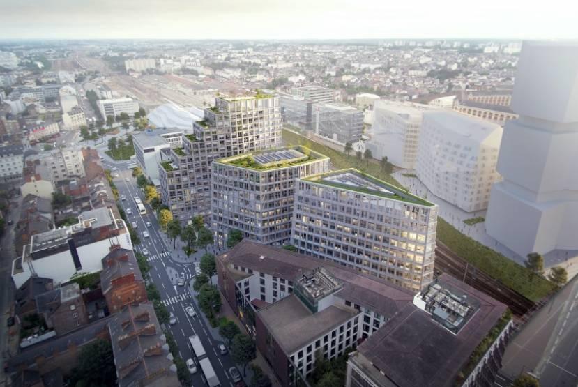 Le projet mixte Beaumont, à Rennes, dont l'immeuble de bureaux acquis par Arkéa Foncière. © KempeThil-MonsieurMedia