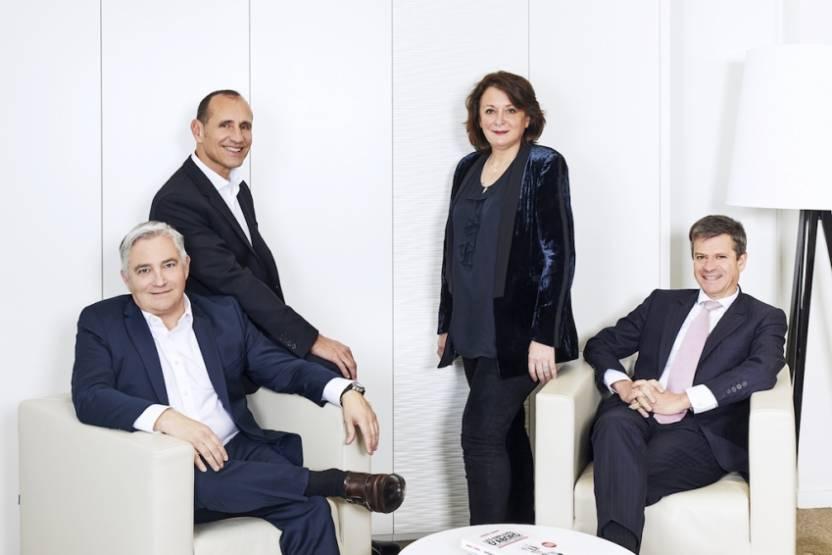 Le management de NCT, de g. à d. : Guy Deforge,William Morelli, Valérie Mellul (présidente) et Olivier de Molliens
