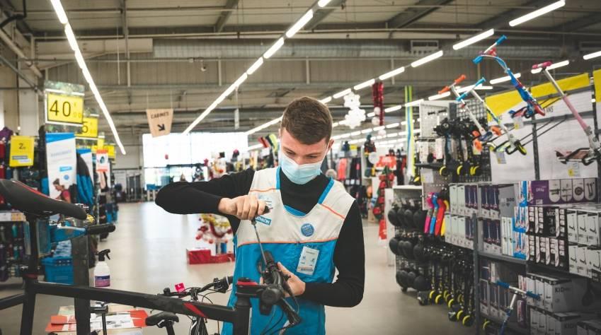 Un magasin Decathlon ouvert pendant la pandémie. © Decathlon